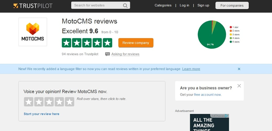 Ultimate cms comparison - MotoCMS trustpilot