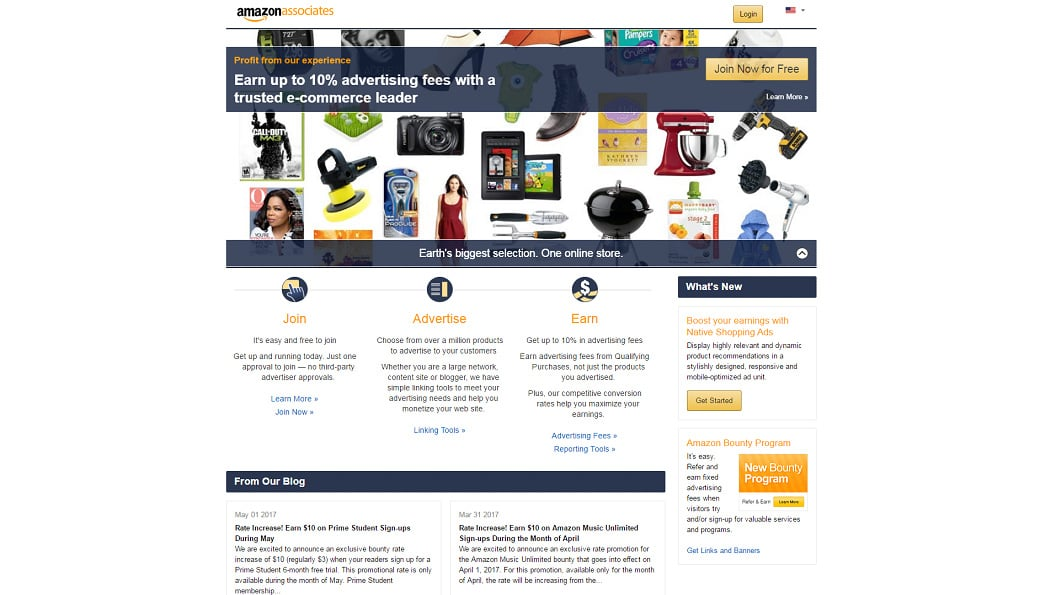Affiliate programs for web design bloggers - Amazon