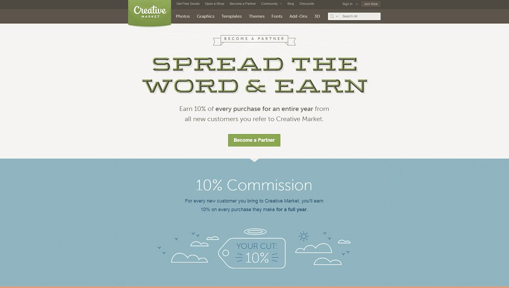 Affiliate programs for web design bloggers - Creative Market