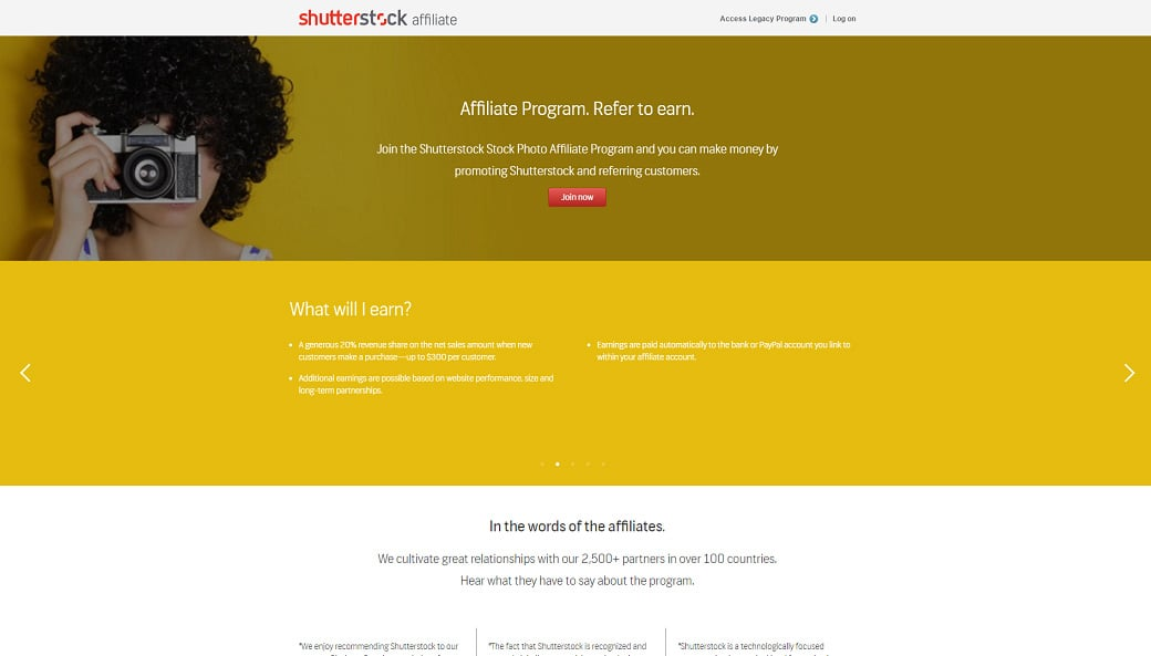 Affiliate programs for web design bloggers - Shuttershock