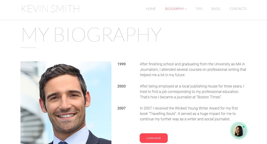 How to make a book website - biography