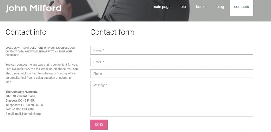 How to make a book website - contacts