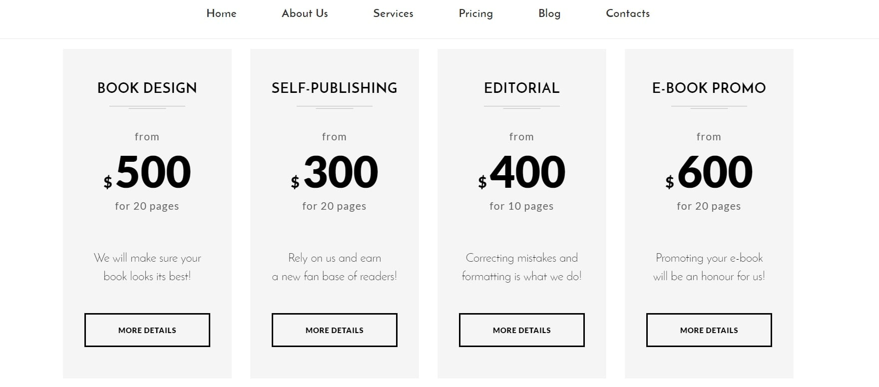 How to make a book website - pricing table
