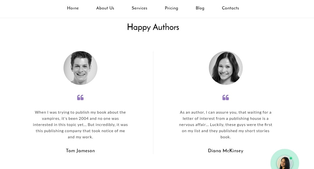 How to make a book website - testimonials
