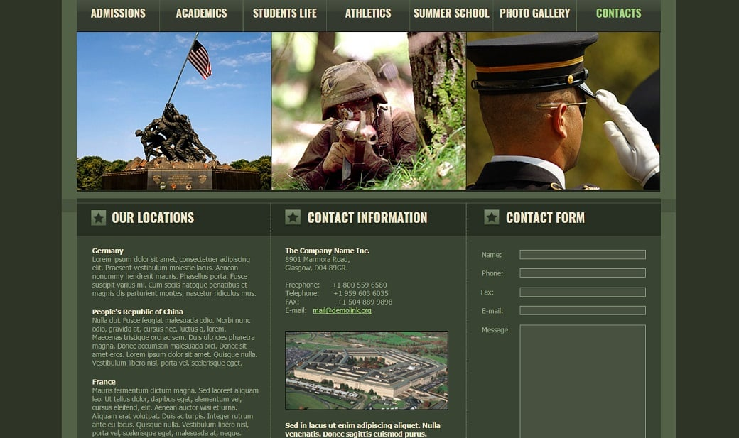 How to make a military website - contacts