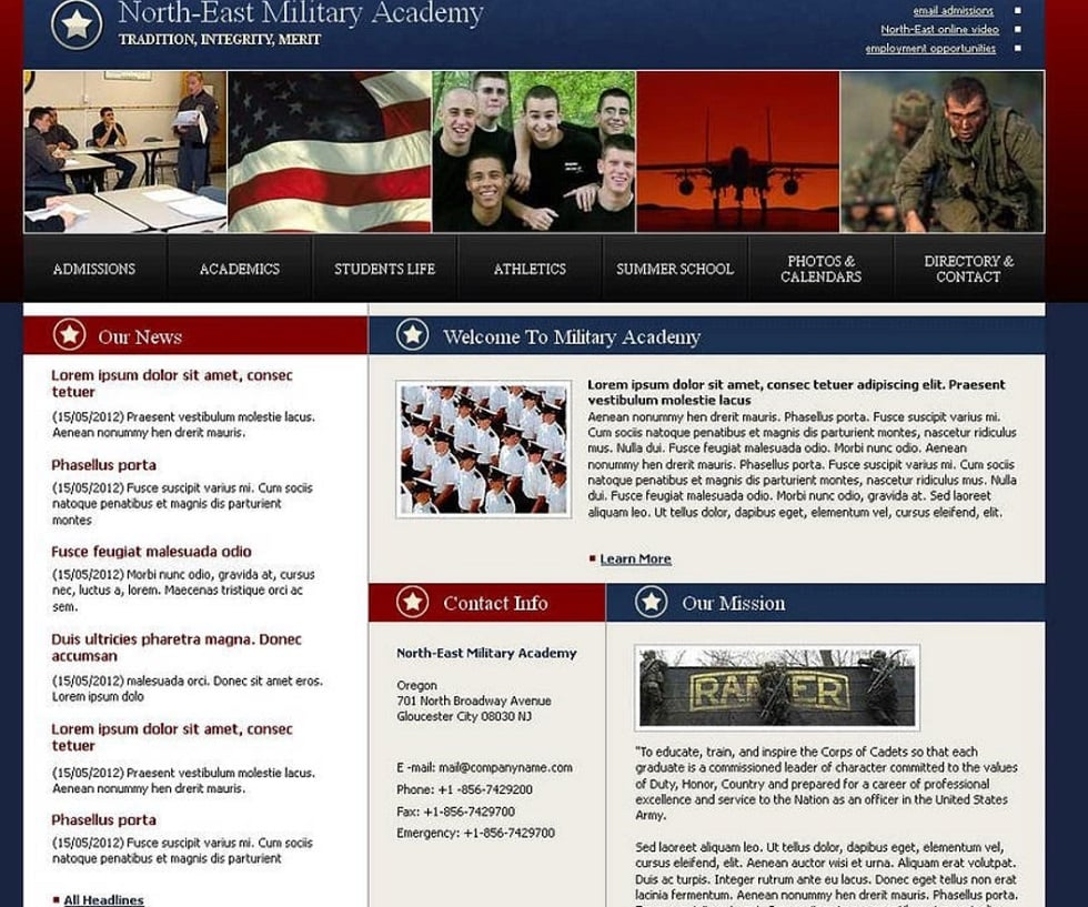 How to make a military website - military academy