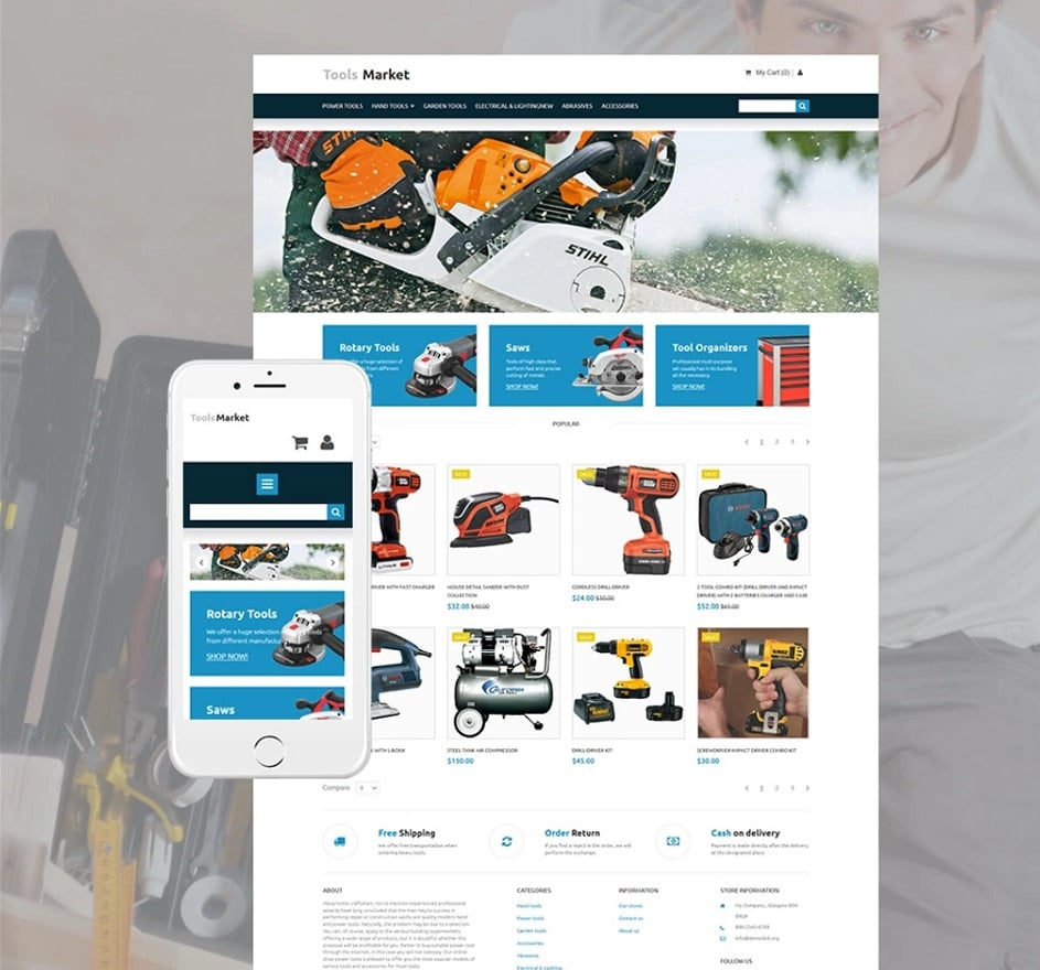How to make an equipment website - tools store