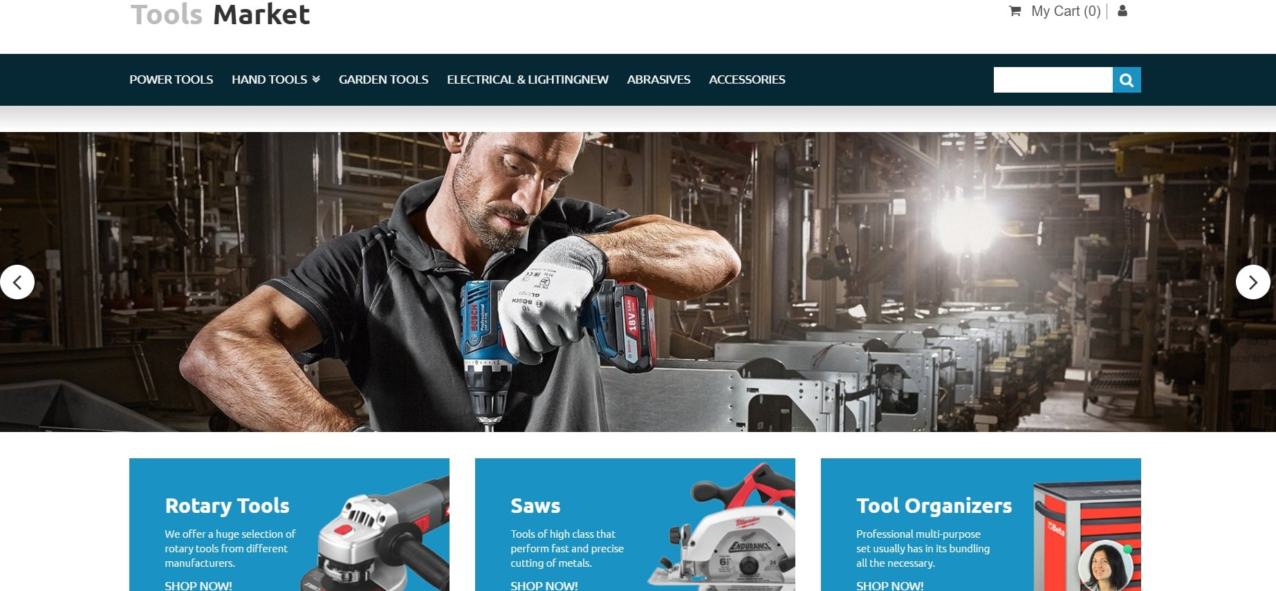 How to make an equipment website - tools market slider