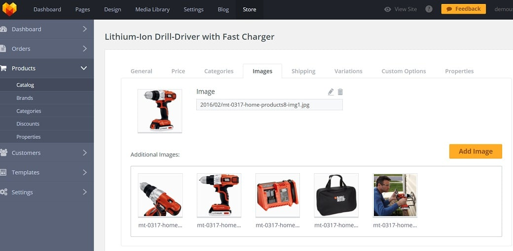 How to make an equipment website - product in catalog