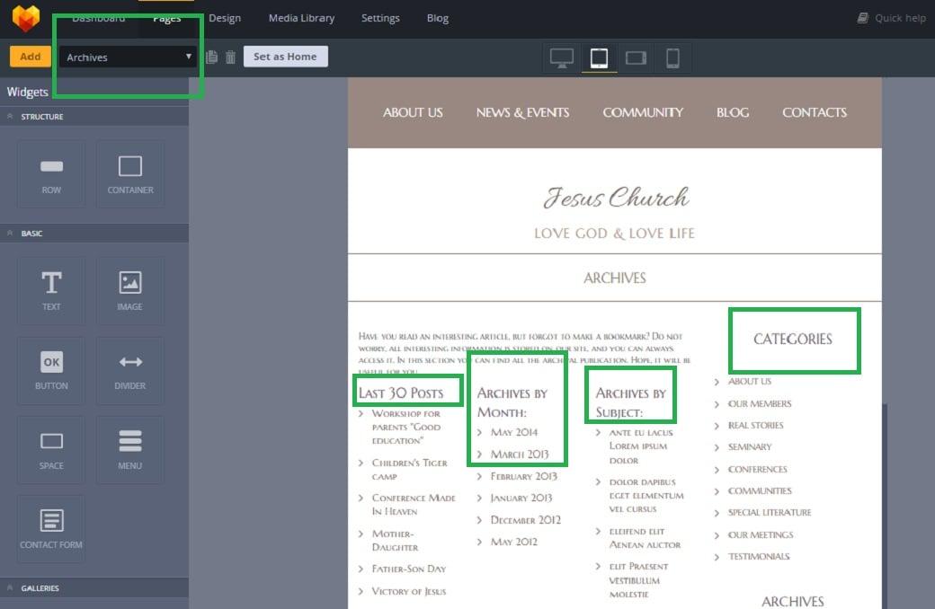 Как создать сайт о религии - страница archives