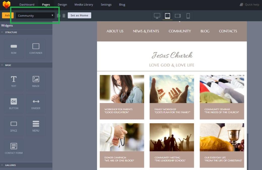 Как создать сайт о религии - страница community