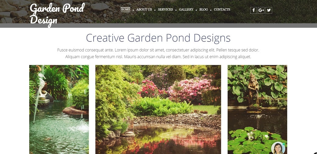 Make an exterior design website - garden pond