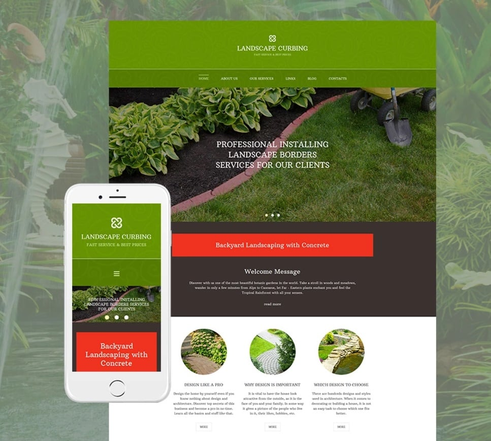Make an exterior design website - landscape curbing