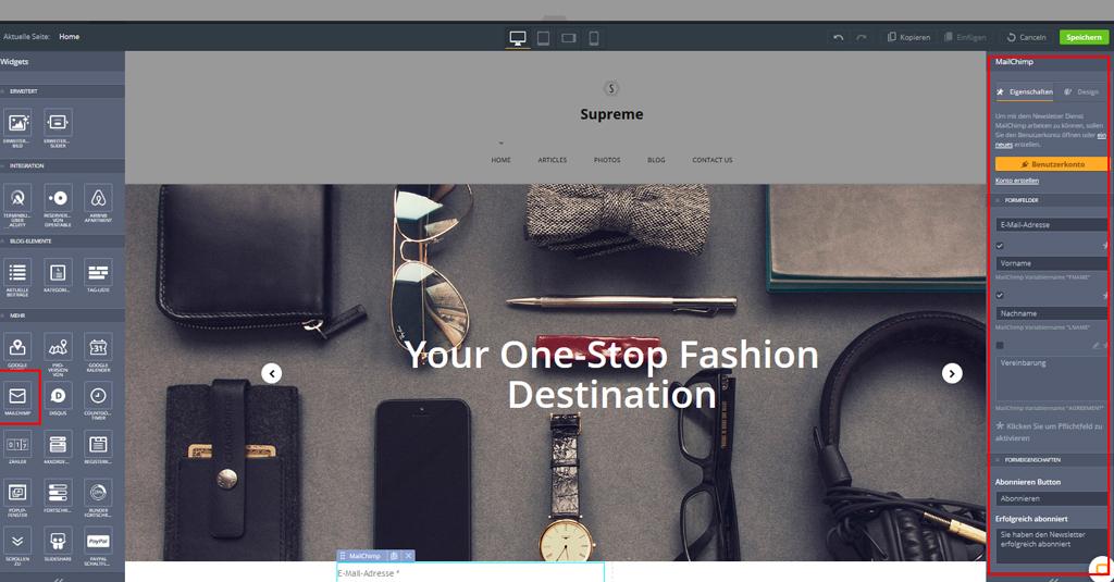 website template mailchimp widget