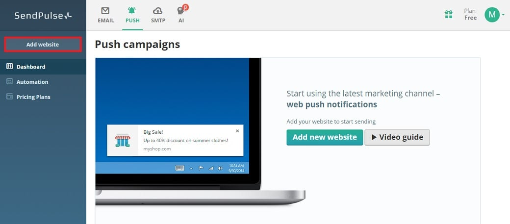 Push notifications- add a website