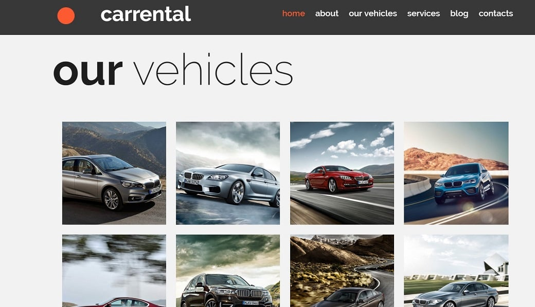 How to make a rent a car website - bright images