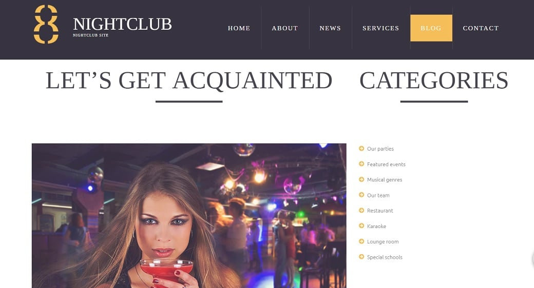 How to make a night club website - categories