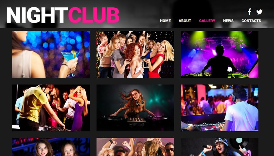 How to make a night club website - gallery