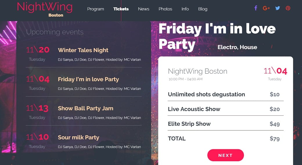 How to make a night club website - schedule