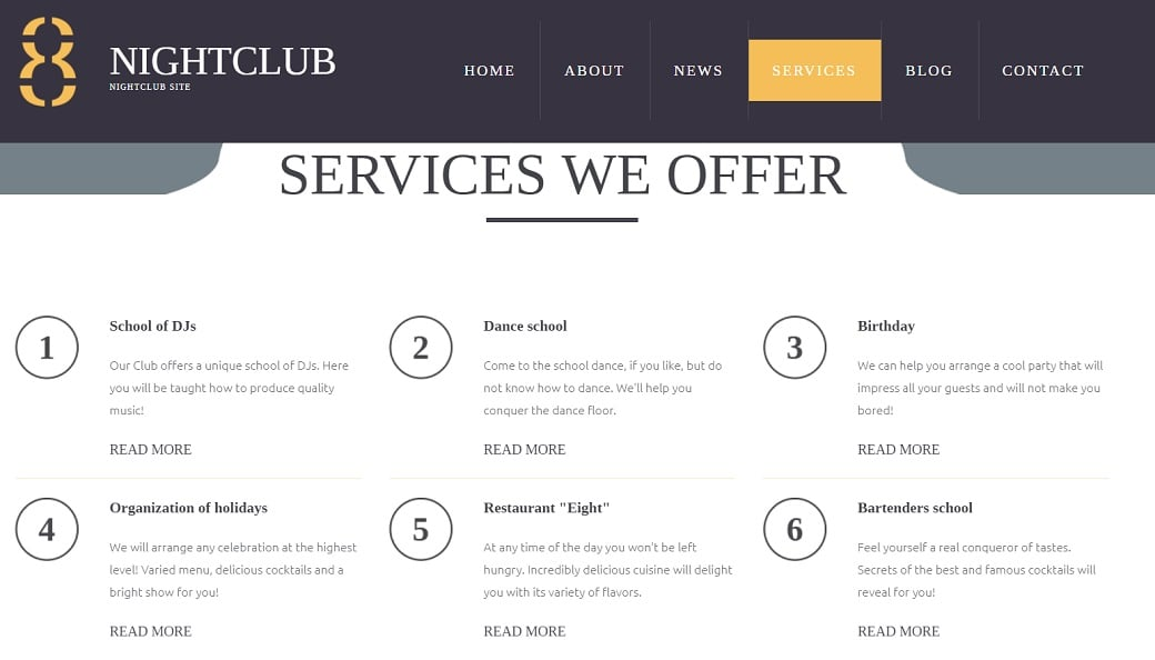 How to make a night club website - services