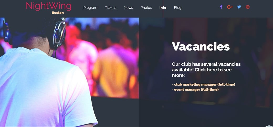 How to make a night club website - vacncies