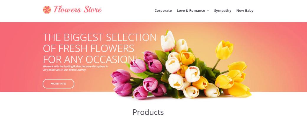 Сайт визитка до и после - шаблон Flower Store