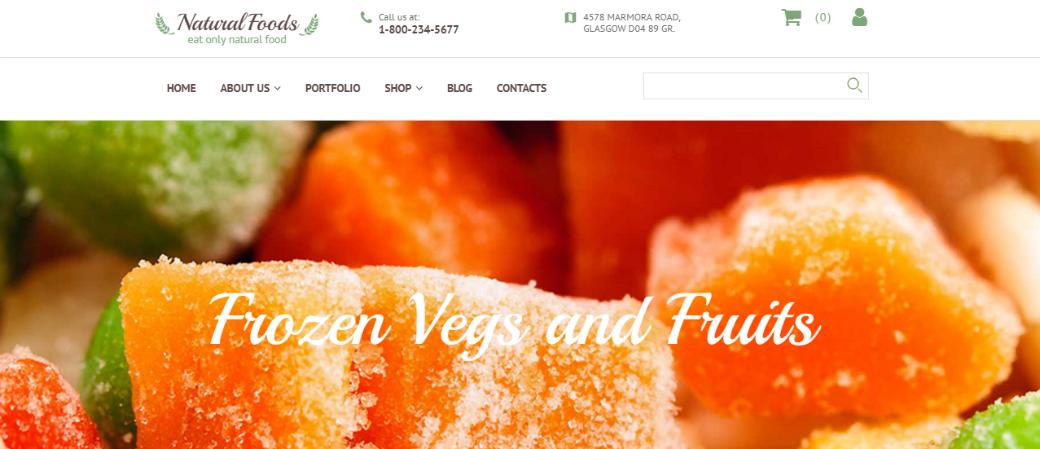 Сайт визитка до и после - шаблон Natural Foods