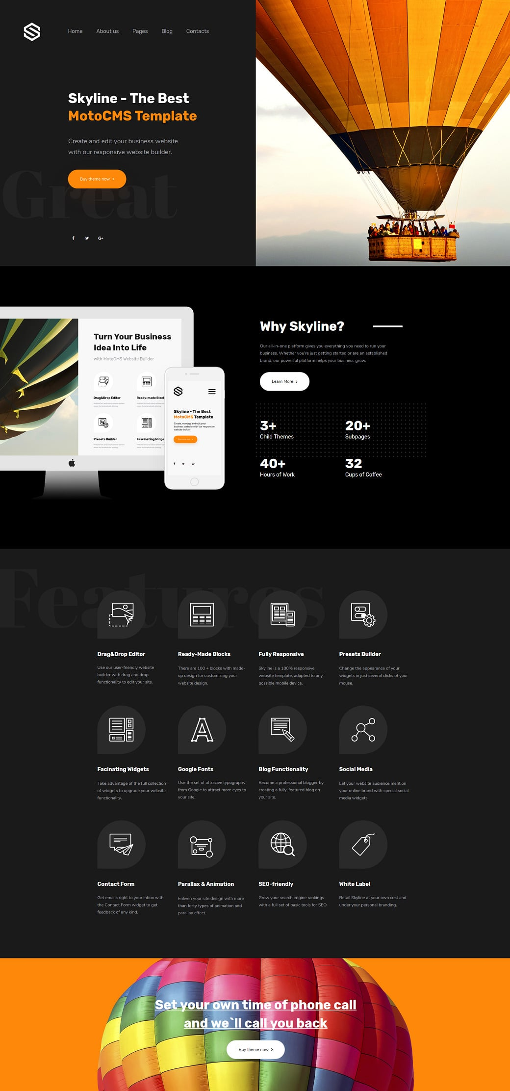 Skyline Business Website Design - Black Extra Home Page