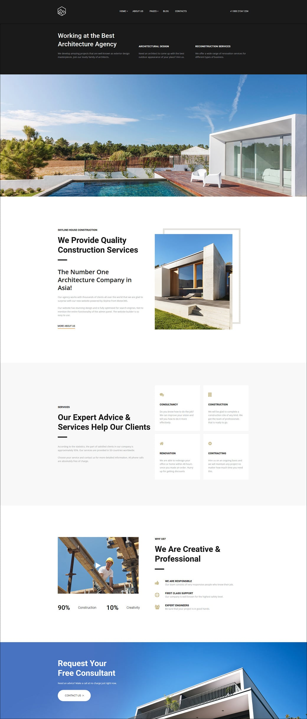 Skyline Business Website Design - House Construction Extra Home Page