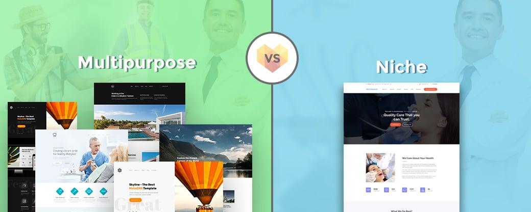 multipurpose template vs niche website