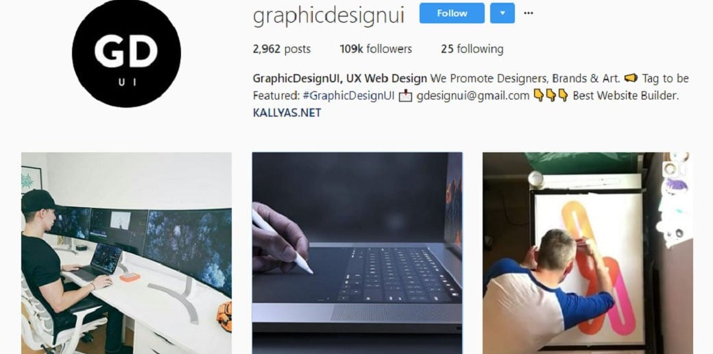 graphic design ui instagram account