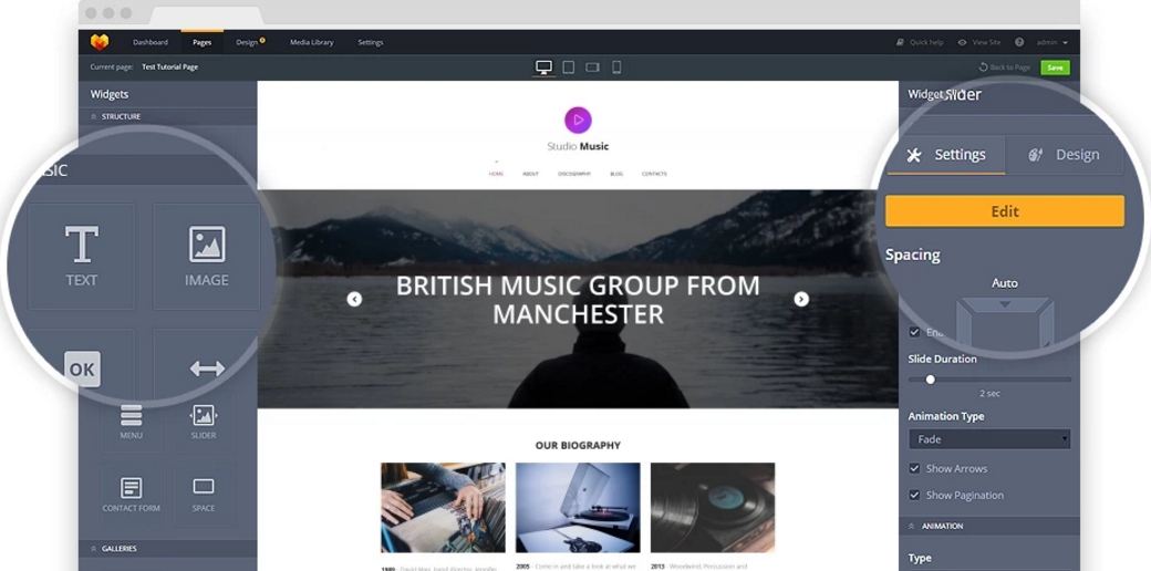 website builder for musicians admin panel image