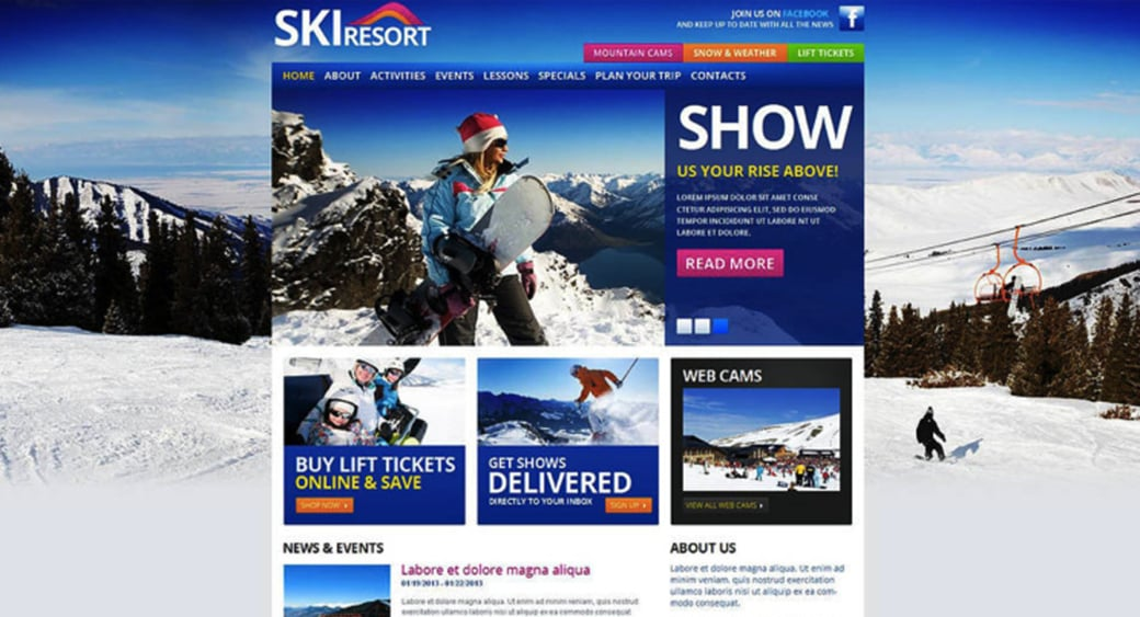 Website Template for Ski Resort