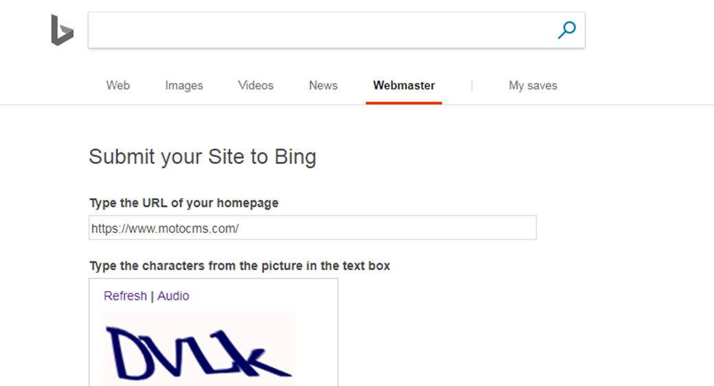 Submit URL To Search Engines Using Bing Webmaster Tools