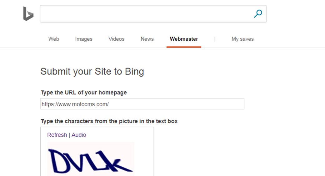 Добавить сайт в Bing Webmaster Tools