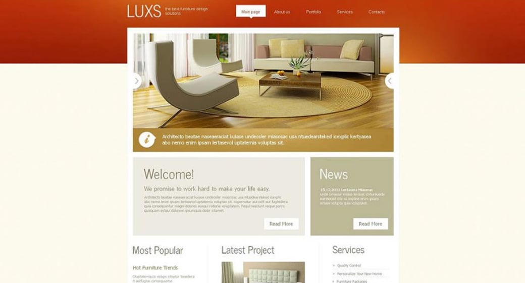 Furniture Website Template with Bright Accents