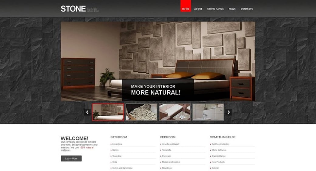 Flooring Company Web Template with Stone Background