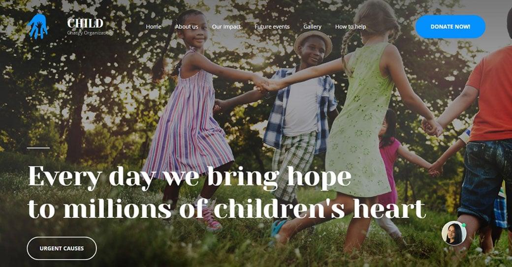 Child Wohltätigkeit kostenlose Vorlage
