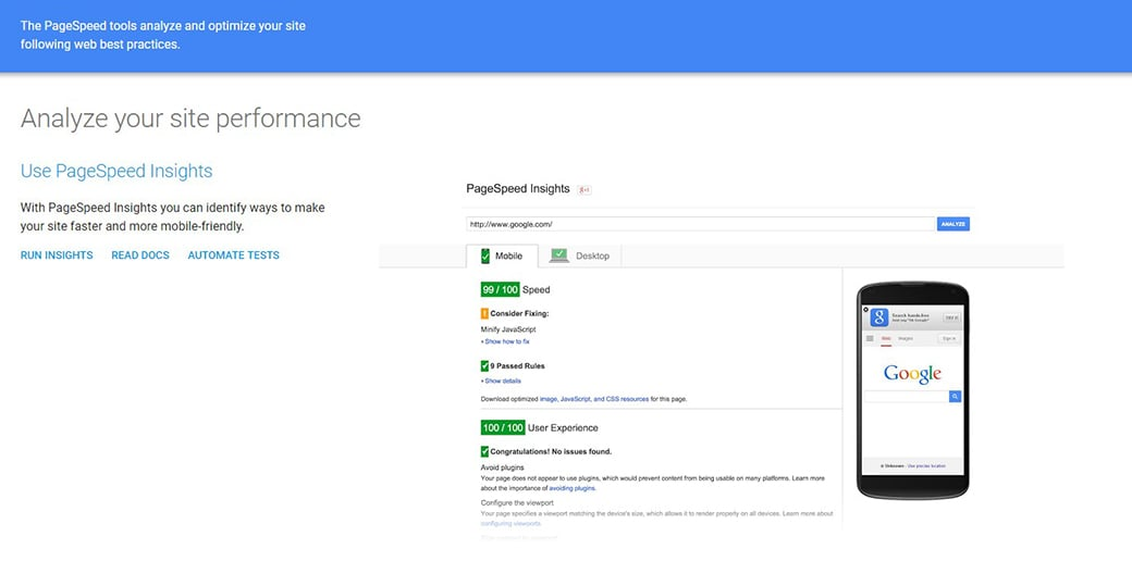 Google PageSpeed Tools