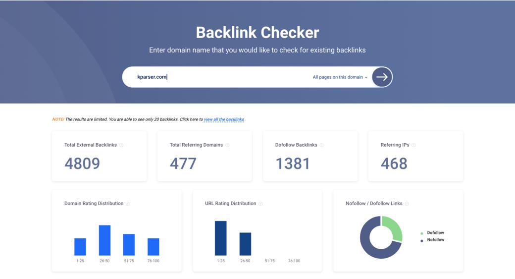 SitecheckerPro backlink tool