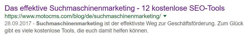 Titel, URL und Meta-Beschreibung Bild