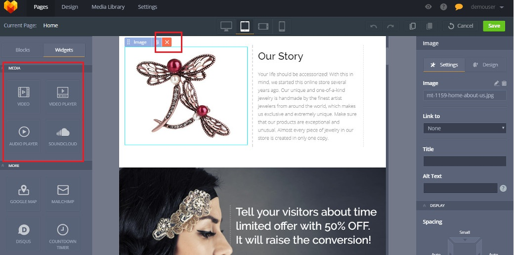 drag and drop landing page builder media files image