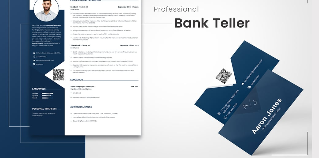 bank teller free business card psd