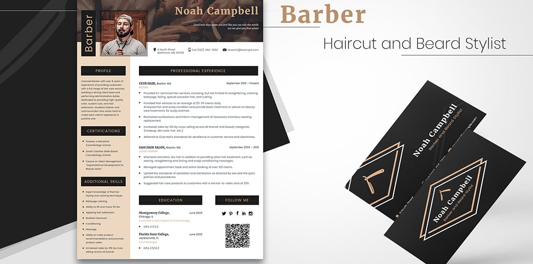 barber free business card psd
