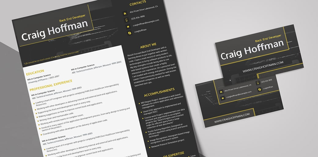 developer free business card psd