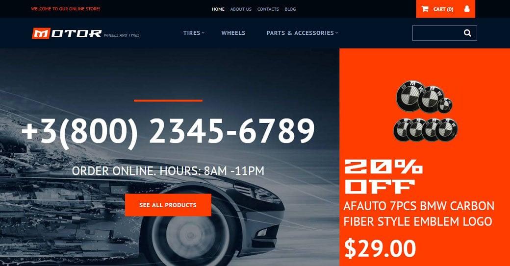 Motor Wheels & Tires Ecommerce Website Template