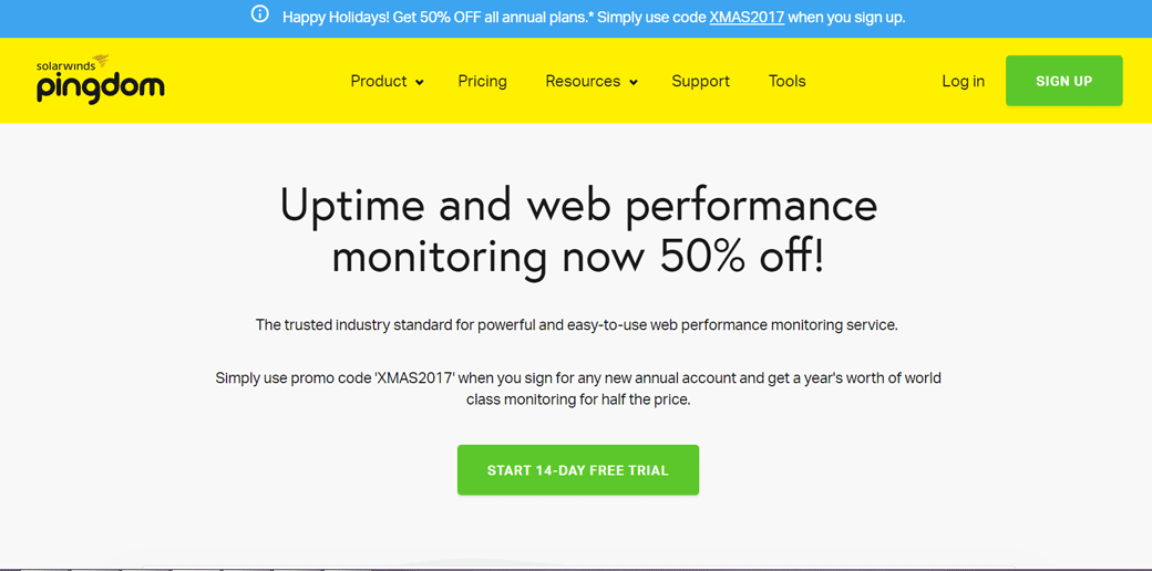 Pingdom website uptime monitoring