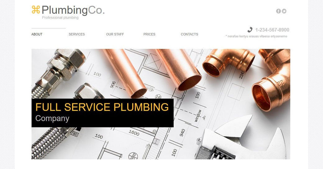 Plumbing Website Template in Light Tones