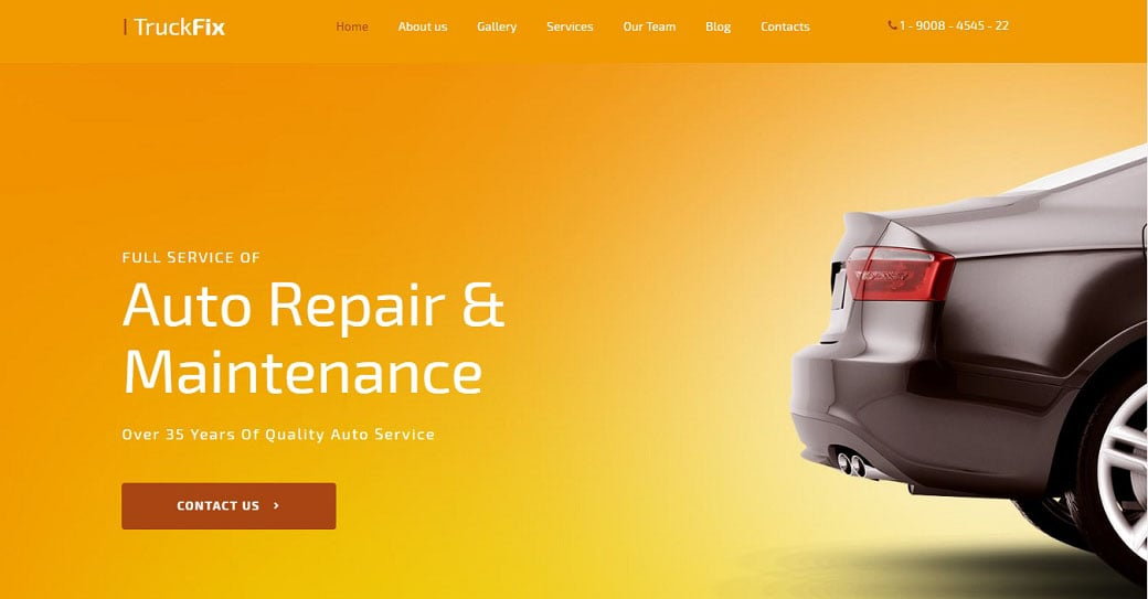 TruckFix Car Repair Responsive Website Template