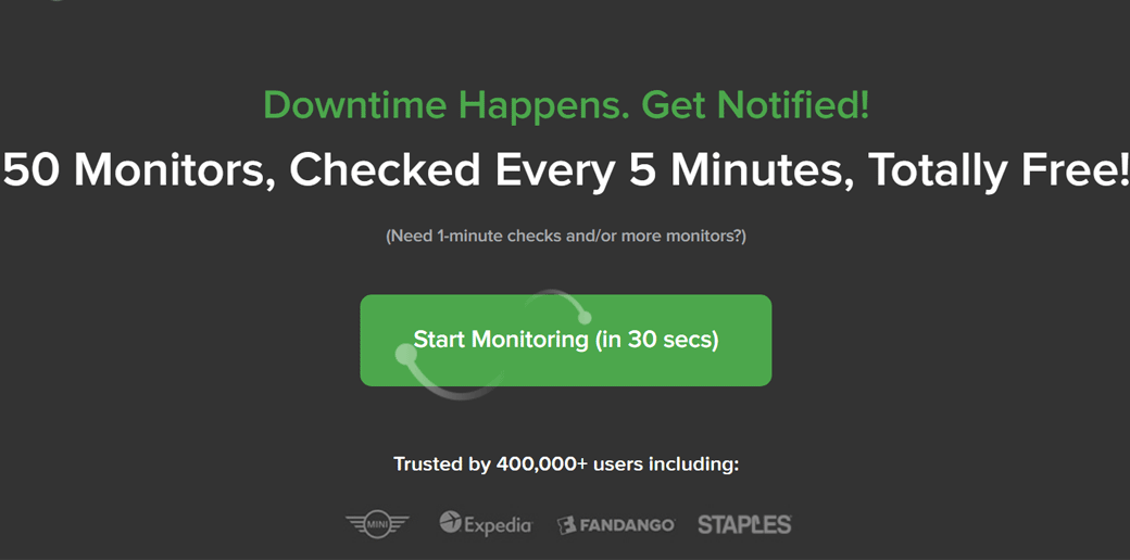 UptimeRobot website uptime monitoring